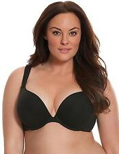 NEW Cacique $42 Cotton Boost Plunge Bra Black Lane Bryant Padded Push Up 38DD
