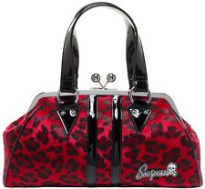 Sourpuss Purse Temptress Red Leopard Hand Bag Punk Goth Retro Tattoo SPPU100