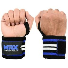 POWER WEIGHT LIFTING TRAINING WRIST SUPPORT WRAPS GYM BANDAGE STRAPS BLU WHT