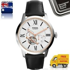 NEW FOSSIL MENS WATCH TOWNSMAN AUTOMATIC SILVER SKELETON BLACK LEATHER ME3104