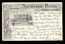 Sussex BEXHILL-ON-SEA Sackville Hotel advert PPC used 1905