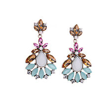 Exquiste J CREW Abstract Colorful Pink Orange Teal Beaded Flower Earrings