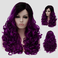Lolita Harajuku Ombre Colors Wig Long Body Wavy Curly Fashion Black Purple Hair