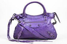 "Balenciaga NWT $1495 Ultraviolet Purple Leather ""Classic Town"" Moto 2 Way Bag"