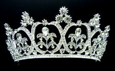 WJH111 Crystal RS Classic Tiara Crown Hair Jewelry Bridal Wedding Pageant Prom