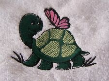 """PERSONALIZED EMBROIDERED BABY GIRL TURTLE  HOODED BATH TOWEL""100% COTTON"