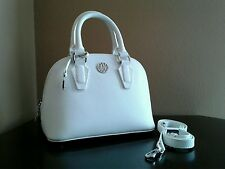 NWT DKNY  Bryant Park -White Saffiano Leather Small  Dome Satchel Shoulder Bag