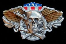 SKULL AND CROSSBONES BIKER BELT BUCKLE VERY NICE!