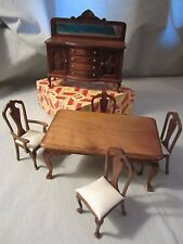 Town Square Minatures Dollhouse Lot 0f 6 Walnut Dining Set W/Bow Front Buffet