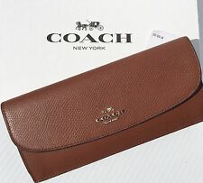 NEW* COACH Wallet Soft Leather SADDLE Slim Snap Zip CARRIAGE logo F52689 NWT TAN