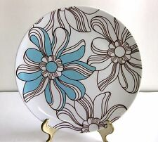 PRE-OWNED WAWEL PORCELAIN SALAD PLATE AQUA & BROWN FLOWER 7 7/8 IN., Poland