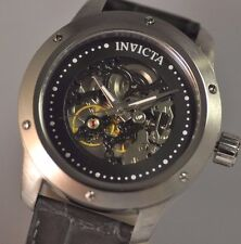 New Mens Invicta 18058 Skeleton Mechanical Gray Leather Watch