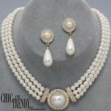 CLASsIC OFF WHITE PEARL & CRYSTAL PROM WEDDING FORMAL NECKLACE JEWELRY SET CHIC