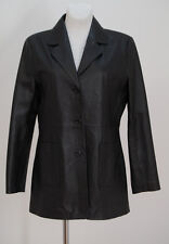 WOMENS SKINZ 100 % LEATHER JACKET BLAZER BLACK FITTED SIZE UK 12 EXCELLENT