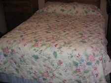 3 PIECE SHABBY CHIC TWIN BED SET-BEDSPREAD, FITTED, FLAT, FLORAL &  TABLE CLOTH