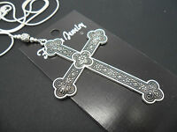 A LOVELY BIG  SILVER COLOUR CROSS/CRUCIFIX NECKLACE. GOTH. NEW.