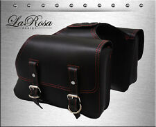 La Rosa Black Leather Red Thread HD Sportster Throw Over Left Right Saddlebags