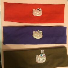 (3) Red, Purple, Brown w/ Pink Hello Kitty Stretch Nylon Headband - One Size
