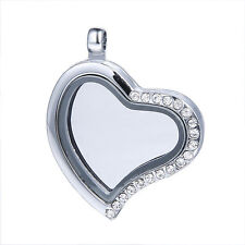 Silver Glass Floating Heart Shape Crystal Charm Memory Locket Pendant with Chain