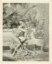 Heinrich LOSSOW - CUPIDO als SCHÜTZE mit WEIBLICHEM AKT  1887 OriginalLichtdruck