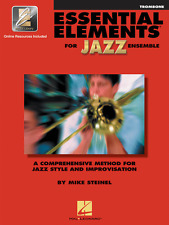 """""""ESSENTIAL ELEMENTS FOR JAZZ ENSEMBLE""""-TROMBONE MUSIC BOOK W/ONLINE ACCESS NEW!!"""