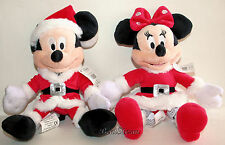 2012 Disney Store Santa MICKEY MINNIE Mouse Holiday Plush Bean Bag Toy Doll Set