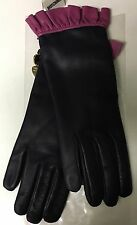 NWT Auth Moschino Cheap&Chic Ruffles Pink Navy Blue Leather Gloves 7.5 Cashmere