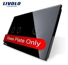 2 Fach Glas Abdeckung für Touch Lichtschalter Livolo Schwarz Kristall Glas 2G+1G