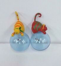 Dept 56 Pair LOT of 2 CAT ORNAMENTS Red & Yellow 56.39447 Sitting on Glass Ball