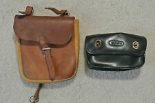 Lot 2 Vintage Brown & Black Leather Bike Motorcycle Saddle Tool Bag Pouches