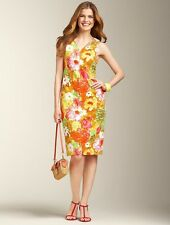 NEW $159 TALBOTS Peyton Painterly Orange,Yellow Floral Shift Dress Sz 4