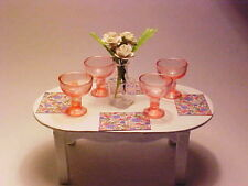 Miniature Wine Glasses Pink Goblets Drinking Tableware Dollhouse Diggs 1:12