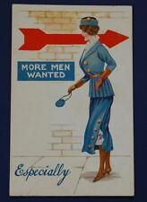 "Original WWI Inter-Art Postcard Local Series ""More Men Wanted"" Woman in Uniform"