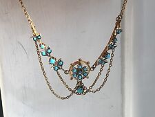 antique tested gold victorain turquoise stuning  necklace-6.1g