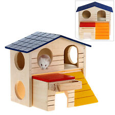 Wooden Bed House Cage Habitat 2-layer Villa for Hamster Squirrel Mouse PET