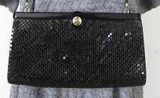 Vtg Glomesh Black Mesh Clutch/Shoulder Bag . Medium . Metal Closures