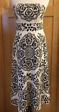 WHITE HOUSE BLACK MARKET 100% SILK STRAPLESS KNEE LENGTH COCKTAIL DRESS 4 White