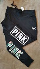 NWT Victoria's Secret PINK Gym Sweat Pants Black Tropical Palm Palms S Small