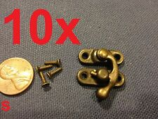 10  sets - (S) latch hook Hinge small mini  Antique wood box Catch Decorative A7