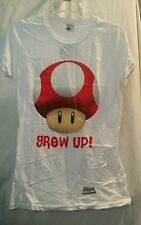 "Super Mario Bros ""Grow Up!"" Mushroom Juniors Tshirt Large NEW WITH TAGS"