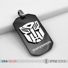 NEW Stainless Steel Transformers Autobots LOGO Small Black Dog Tag Pendant 13D