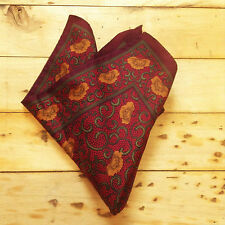 FRENCH 1950s VINTAGE MEN POCKET SQUARE - STYLISH PRINT - PURE SILK - NEW