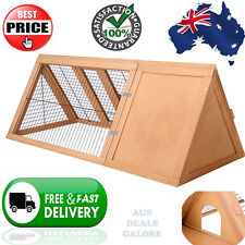 Pet Rabbit Hutch Guinea Pig Chicken Ferret Cage Triangle Chook House Run Wooden