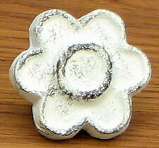 Set of 12 Cast Iron Antique White Flower Drawer Pulls, Cabinet Knobs