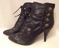 Vintage Black Leather High Heels Shoes Pumps Retro Grunge Granny Boots Sz 5.5 B