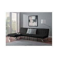 Futon Chaise Lounge Set Sleeper Black Queen Bed Faux Leather Modern Sofa Lounger