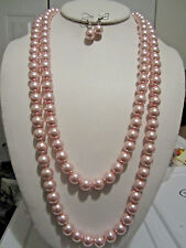 Pink Glass Faux Pearl Long Necklace Earring Set