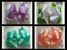 Lot 6pc Double Layer Boutique 5 inch Hair bows Over 100 colors to choose from