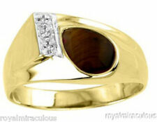 Mens Diamond Ring Tigers Eye Sterling Silver or Gold Plated Silver