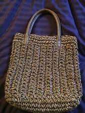 Tommy Bahama Straw/Leather Tote Bag Purse Reed